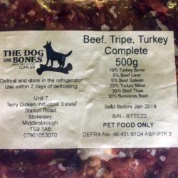 The Dog and Bones Beef, Tripe, Turkey complete Raw Dog Food