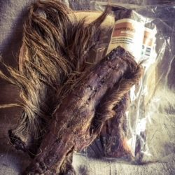 Venison slice with hair natural pet treat with hair