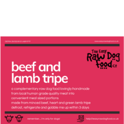 The Easy raw Dog Food Company Beef and lamb Tripe boneless